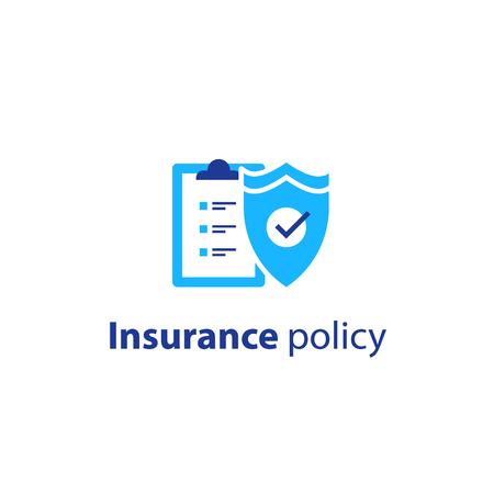 Insurance policy concept, check board and shield, vector line icon.