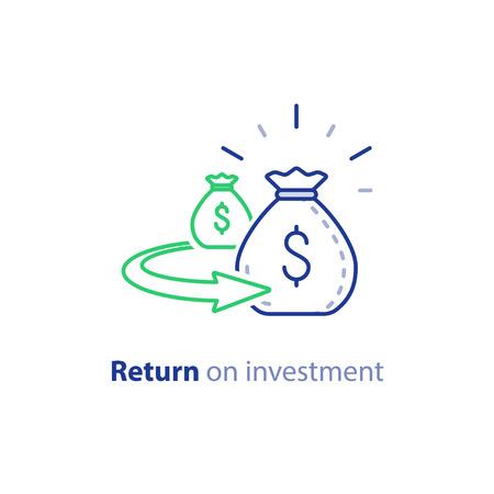 Return on investment, vector line icon Vektoros illusztráció