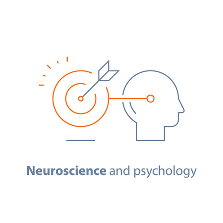 Marketing concept, target group, ambitious mindset, aspirations, hit target, neuroscience and psychology, vector line icon, thin stroke