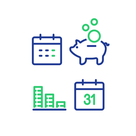 Financial calendar line icon, monthly payment outline symbol, annual income concept, piggy bank saving account, money return, asset allocation, long term investment pension fund, superannuation vector. Vettoriali