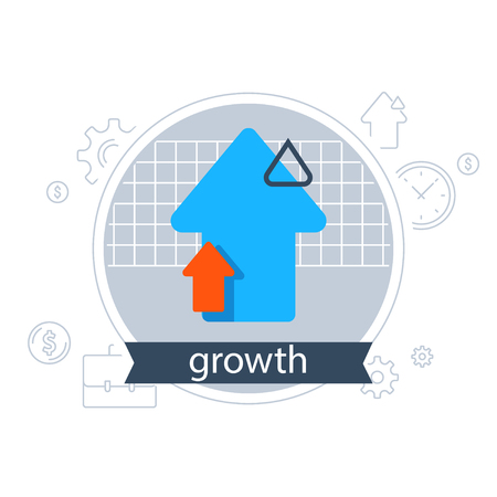 Banking services, financial strategy concept, return on investment, fund management, income growth arrow, vector flat icon