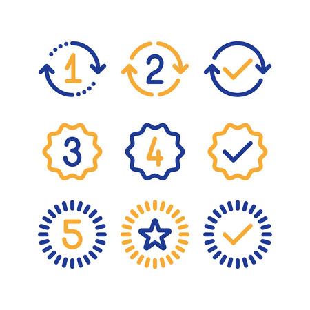 保証スタンプセットの年、1つの2つの3つの4つの5つの数字、保証サイン、承認されたシンボル、ベストチョイスマーク、ベクトルラインアイコン