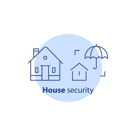 Service de sécurité à la maison, système de gardiennage, prévention des vols, protection contre l'intrusion, intrusion avec propriété, concept d'assurance cambriolage, icône de ligne vecteur parapluie