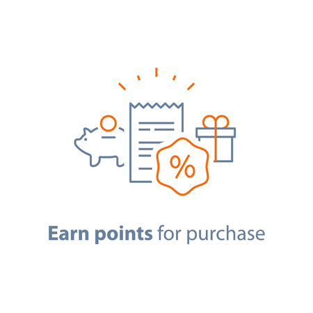 Earn points and get reward, loyalty program, marketing concept, vector line icon, thin stroke illustration Ilustração