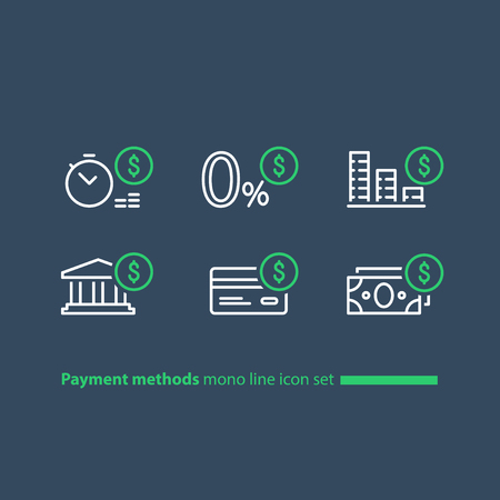 Payment methods, financial items set, zero percent commission fee, credit card money transaction, payment installment plan, vector mono line icons Illustration