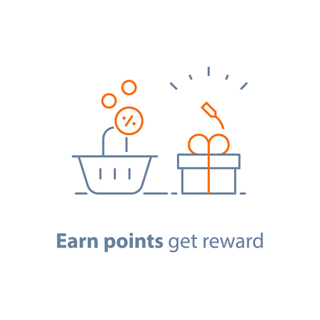 Earn points and get reward, loyalty program, marketing concept, small gift box and shopping basket, vector line icon, thin stroke illustration Vektorové ilustrace