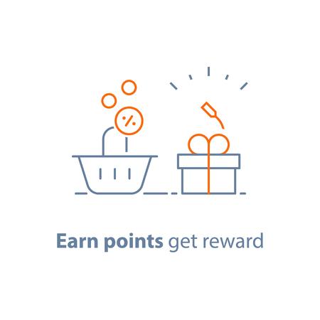 Verdienen Sie Punkte und erhalten Sie Belohnung, Treueprogramm, Marketingkonzept, kleine Geschenkbox und Einkaufskorb, Vektorlinie Ikone, dünne Anschlagillustration Vektorgrafik
