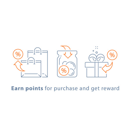 Earn points and get reward, loyalty program, marketing concept, vector line icon, thin stroke illustration Vectores