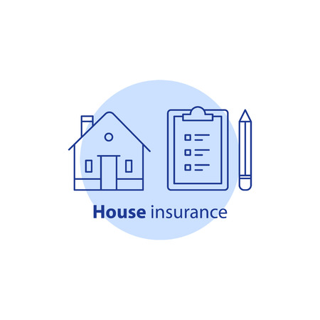 House insurance policy, maintenance service, home improvement and remodeling concept, residential building renovation, clipboard with checklist and pencil, real estate ownership, vector line icon.