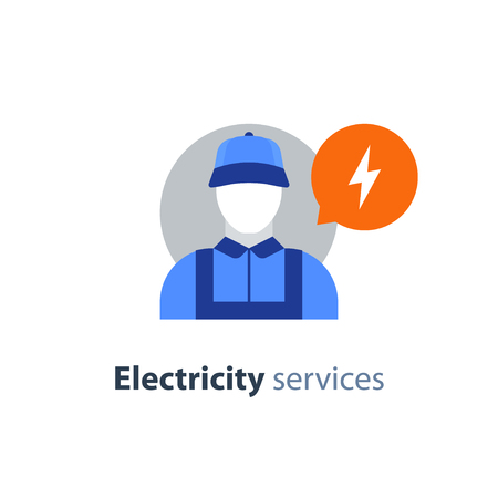 Electrician flat icon, electricity services, electrical repairman, technician person, maintenance engineer, vector illustration. Stock fotó - 93964428