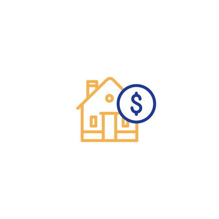 Real estate concept, house and coin mono line icon, mortgage money, home payment and insurance, living expenses vector.