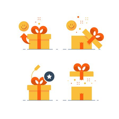 L'insieme sorprendente del regalo, il premio dà via, il presente emozionale, l'esperienza divertente, il concetto insolito di idea regalo, la scatola gialla aperta con il nastro rosso, l'icona piana di progettazione, illustrazione di vettore.