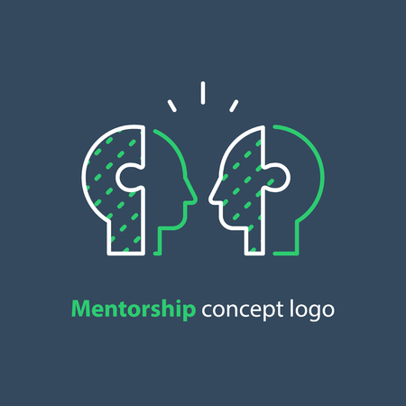 Mentorship concept, mentoring and guidance, competition game, relationship, vector line icon