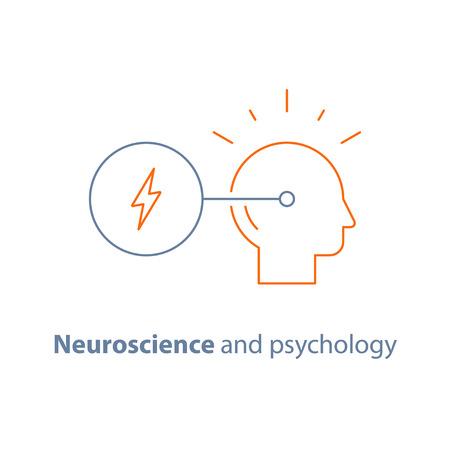 Decision making symbol, neurology and psychology, critical mindset, creative thinking, brain training task, vector line icon