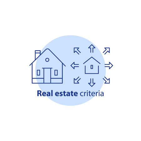 House enlargement services, extension concept, building addition, home improvement, remodeling, renovation and construction, property size, real estate options, vector line icon.