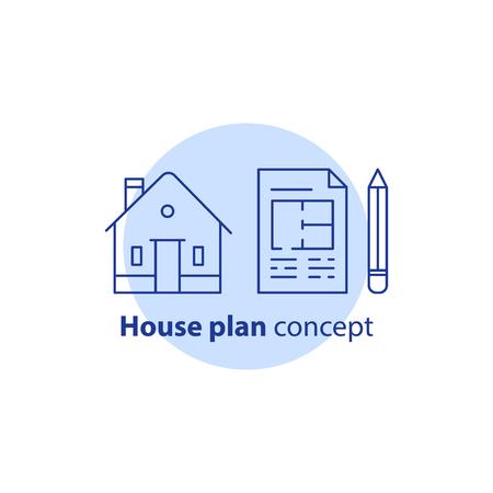 住宅計画サービス、住宅改良・リフォームコンセプト、住宅建築リノベーション、青写真と鉛筆、ベクトルラインアイコン