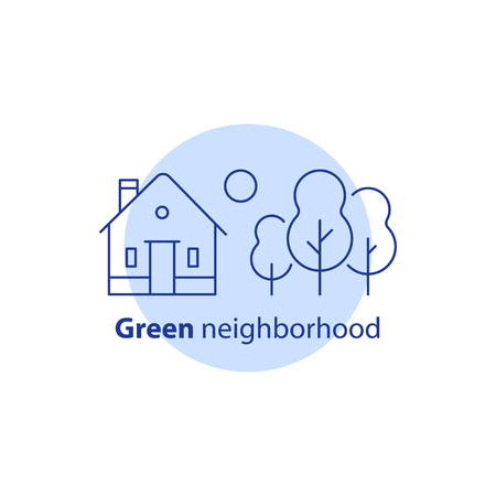 Green neighborhood concept, real estate development, summer house residential building with garden trees or forest, suburban cottage, vector line icon
