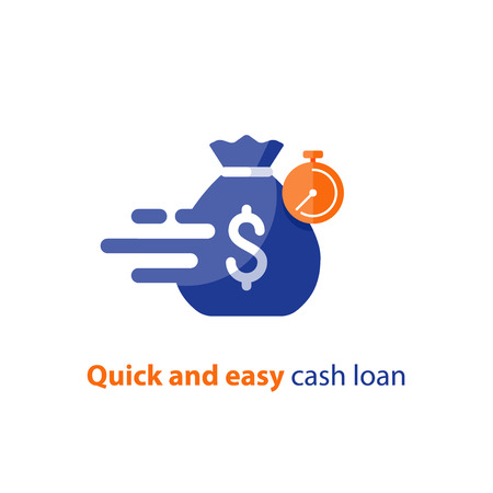 Quick and easy loan, fast money providence, business and finance services, timely payment, financial solution, vector icon.