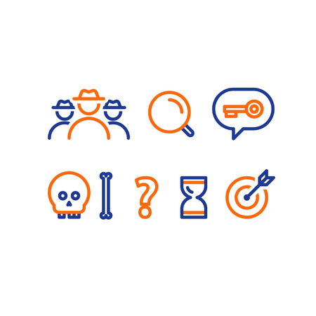 Detective game concept, quest playing items, crime investigation, deductive riddle, vector line icons.