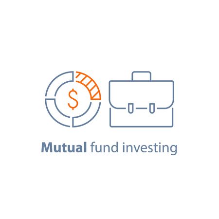 Mutual fund management, long term investment return, financial security, corporate finance, income growth, dividend payment, portfolio performance analysis, vector line icon thin stroke