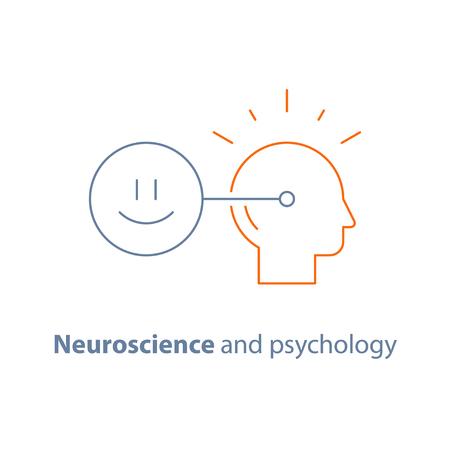 Concetto di intelligenza emotiva, neuroscienze e psicologia, mentalità positiva, connessione mentale, icona linea vettoriale, tratto sottile Vettoriali
