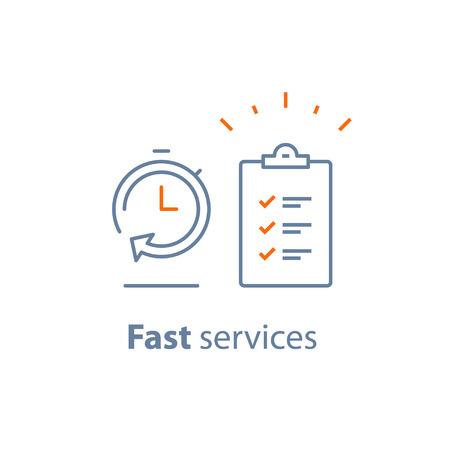 빠른 서비스, 간단한 솔루션, 프로젝트 관리, 개선 체크리스트, 조사 클립 보드, 등록 개념, 여론 조사, 이용 약관, 기간, 벡터가는 선 아이콘 일러스트