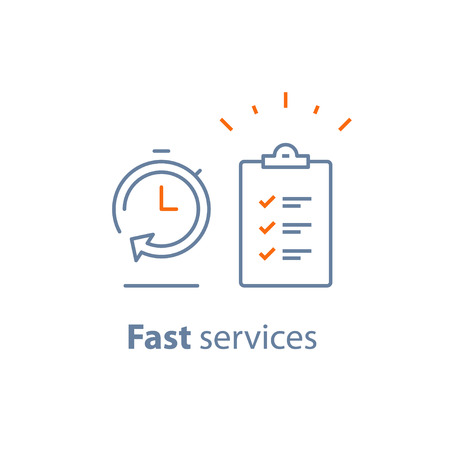 Fast service, simple solution, project management, improvement checklist, survey clipboard, enrollment concept, opinion poll, terms and conditions, time period, vector thin line icon