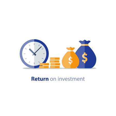 Avance de fonds, fournir de l'argent, période financière, paiement annuel, croissance du revenu, productivité financière, retour sur investissement, planification budgétaire, concept de comptabilité, rapport d'audit, icône plate de vecteur Vecteurs