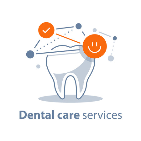 Dental care, prevention check up, stomatology services, healthy tooth, protection concept, vector illustration, flat icon.