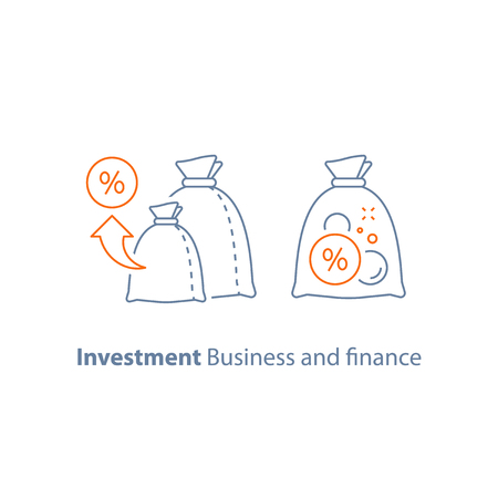 Estrategia de inversión, crecimiento de ingresos, administración de fondos, inversiones a largo plazo, concepto de préstamo, ahorros de pensión, ilustración vectorial de jubilación, icono de línea.