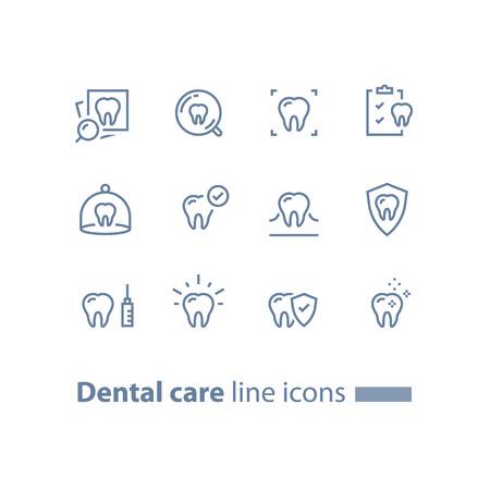 歯科治療、予防チェック、衛生と治療、胃科サービス、歯とチェックリスト、ベクトルラインアイコンセット、線形設計