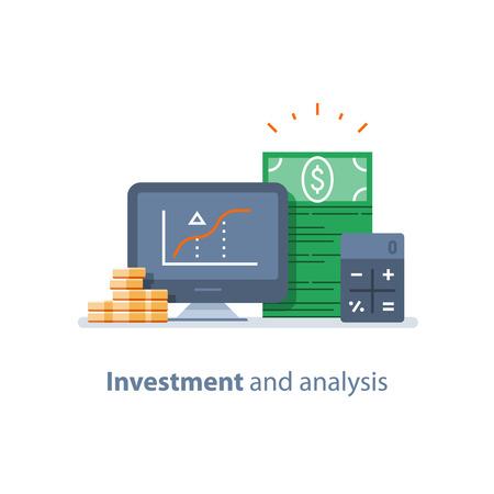 Investeringsstrategie, financiële analyse, hedgefonds, durfactiviteiten, beleggingsfondsen, trustmanagement, rentevoet, kapitaalgroei, gegevensoverzicht op desktop, beurs en uitwisseling, accountancy-pictogram