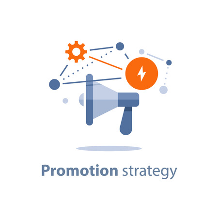 Marketing strategy plan, megaphone icon, attention announcement, public relations concept, advertising campaign, social media viral commercial, business promotion, customer attraction, vector icon
