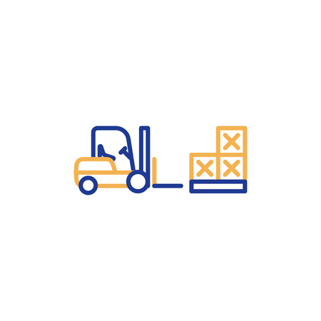 Fork lift truck loader, pallet with stacked boxes, warehouse storage services, asset relocation, vector mono line icon Vectores
