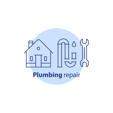 House plumbing services, p-trap clog cleaning, change pipes, dismantle tubes, sewer repair, canalization maintenance, home improvement, vector line icon