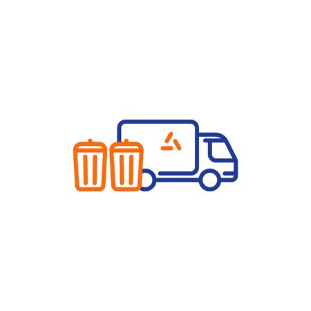 Garbage collector services, waste transportation truck, rubbish bins, dump vehicle, vector mono line icon
