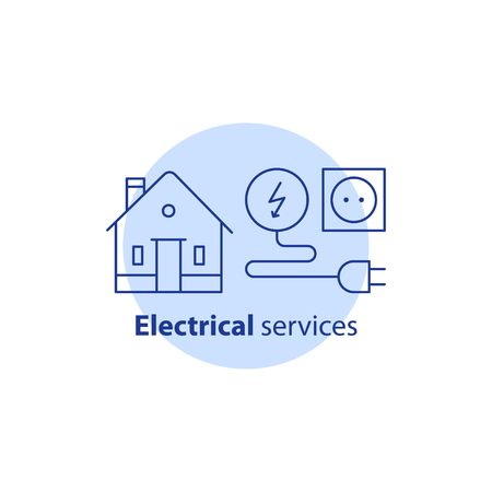 House electrical services, electricity repair works, home improvement, electrical solution, vector line icon