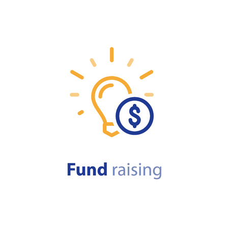Donation and crowdfunding concept, fund raising, sponsor, idea light bulb, start up business, vector line icon.