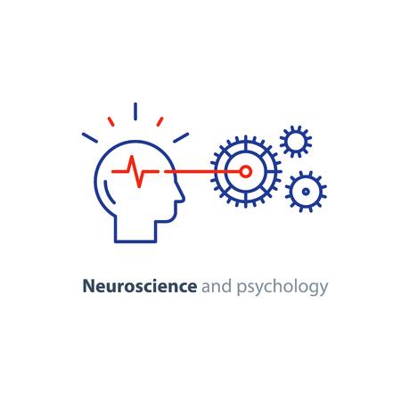 Neurowetenschap concept, psychologische processen, hersenfunctie, kunstmatige intelligentie, onderwijssysteem, probleemoplossing, vector monolijnpictogram Stock Illustratie