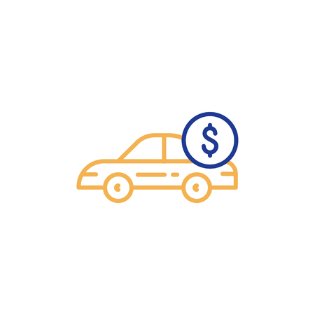 Car payment, side view, transportation cost, buy and sell services, vector mono line icon Illustration