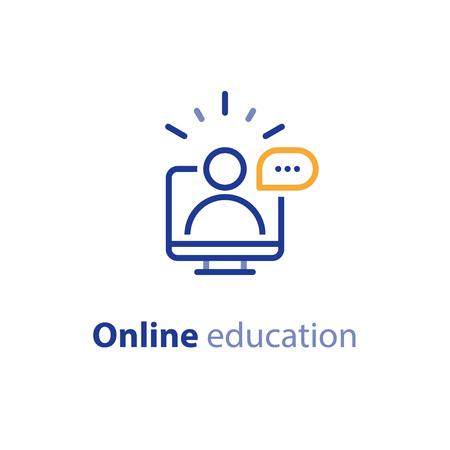 Ressources éducatives vecteur ligne icon set, cours en ligne, éducation à distance, tutoriels e-learning. Vecteurs