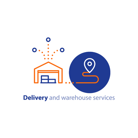 Wholesale warehouse distribution center concept, delivery chain solution and transportation services logo elements, shipping multiple order line icon, combined parcel outline vector Vectores