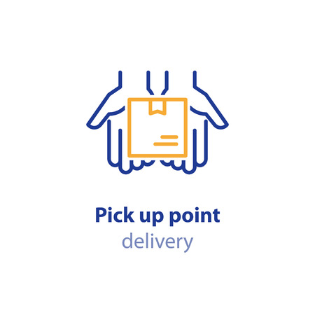Pick up point, receive order, collect parcel, delivery services, shipping concept, package shipment, hands holding box, vector line illustration