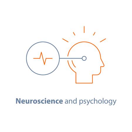 의사 결정 로고, 신경 및 심리학, 비판적 사고, 창조적 사고, 뇌 훈련 과제, 벡터 라인 아이콘