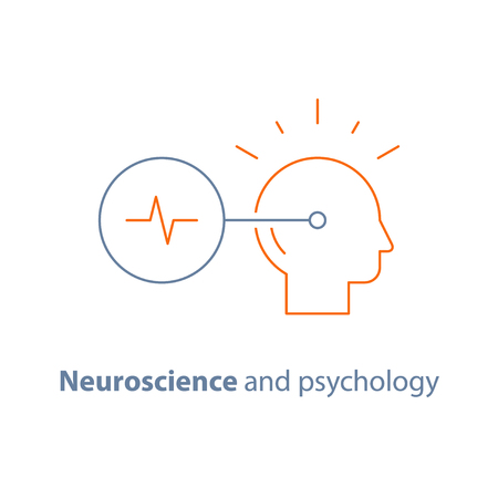 Decision making logo, neurology and psychology, critical mindset, creative thinking, brain training task, vector line icon