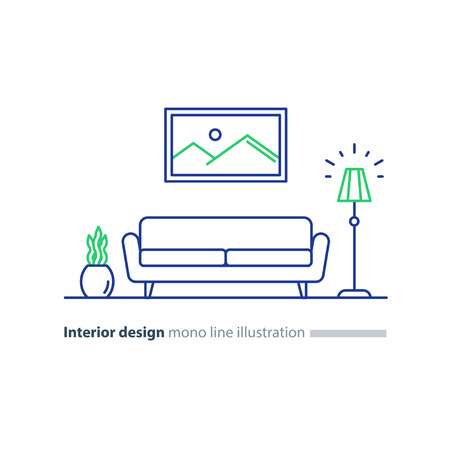 Living room interior design, sofa and floor lamp, picture and plant pot, style, vector mono line illustration. Vetores