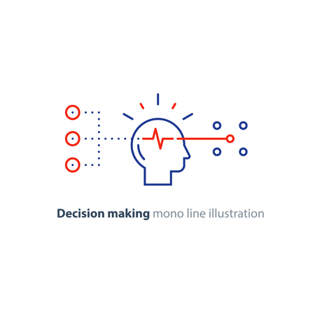 Besluitvorming architecten, keuzeboom, marketingconcept, psychologie en neurowetenschap, mindset, vector monolijn pictogram