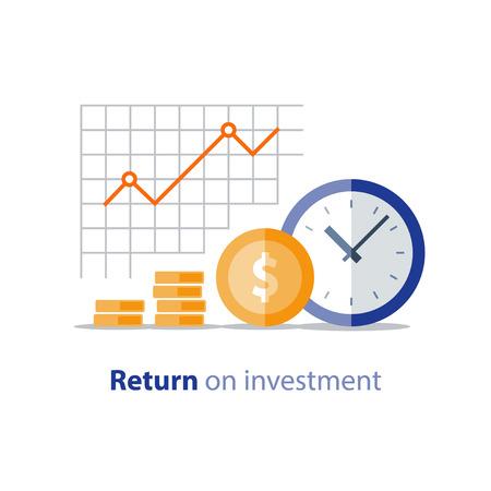 Pagamento annuale, periodo finanziario, crescita del reddito, grafico della produttività finanziaria, utile sul grafico degli investimenti, pianificazione del budget, concetto di spese, relazione contabile, cruscotto statistico, icona piatto vettoriale Vettoriali