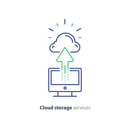 Cloud storage services concept, vector mono line icon Ilustração