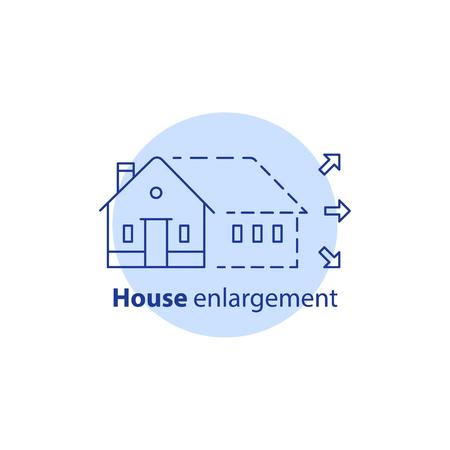 Hauserweiterungsdienstleistungen, Erweiterungskonzept, Gebäudezusatz, Hauptverbesserung, Umgestaltungslogo, Erneuerung und Bau, Eigentumsgröße, Immobilienwahlen, Vektorlinie Ikone